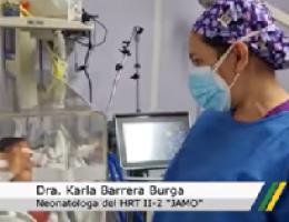 "Hospital Regional II-2 ""JAMO"" traslada a Lima desde Tumbes a bebé con atresia esofágica."